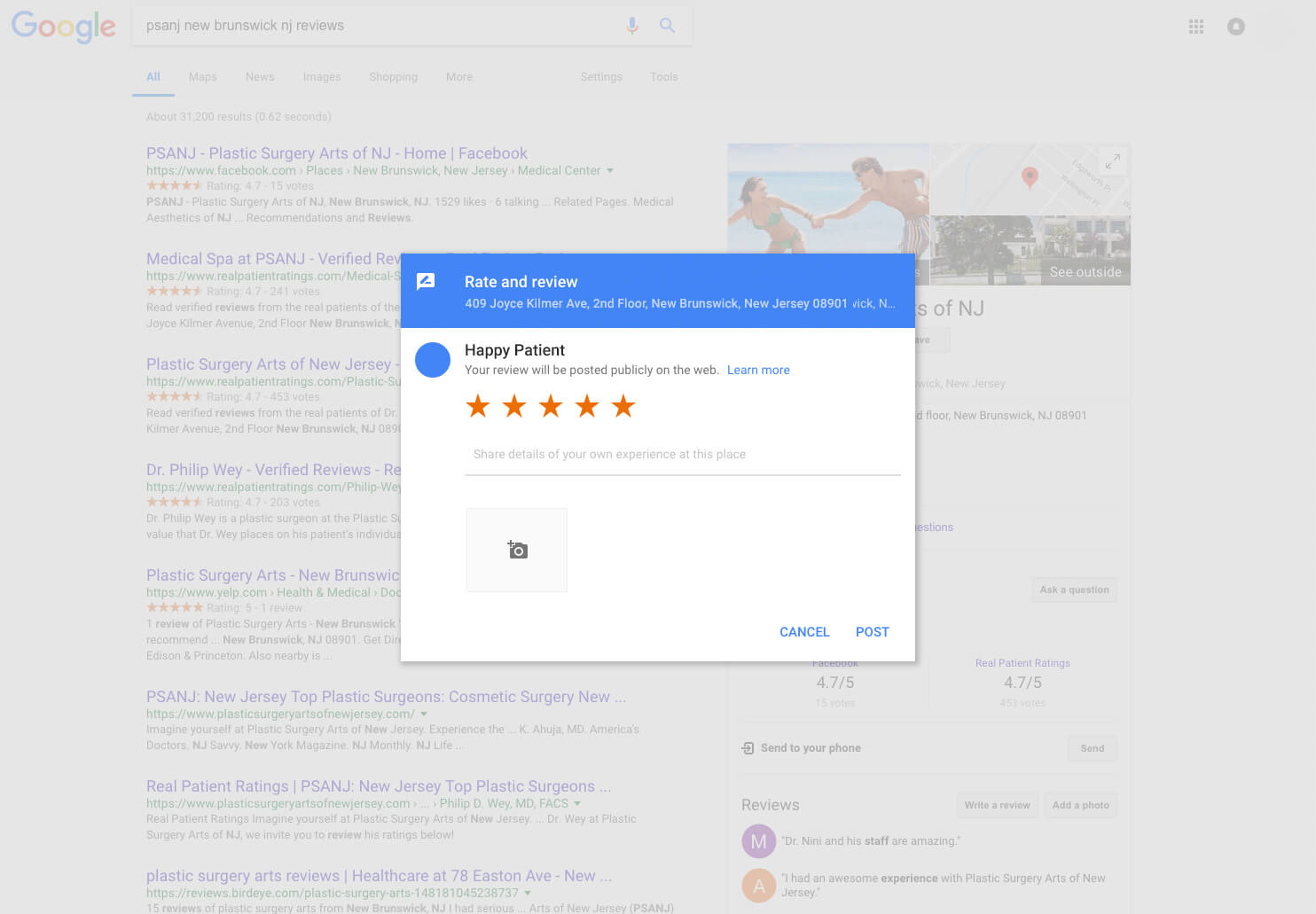 An area to leave a review will popup. If the popup does not work, click the  Write a review button.